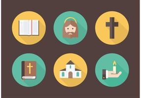 Icônes de vecteur de christianisme plat gratuit