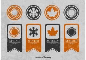 Rubans texturés saisonniers et badges vecteur