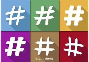 Hashtags icônes vectorielles plates