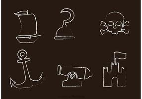 Vecteur d'icônes pirates dessinées à la craie