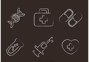 Vecteur d'icônes médicales dessinées à la craie
