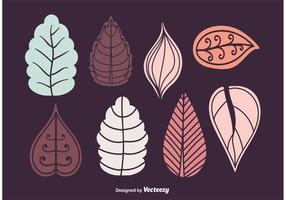 Ensemble de vecteur de feuilles d'automne et d'hiver