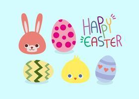 Ensemble de vecteur heureux de Pâques