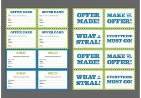 Cartes de vente de courte vecteur gratuit