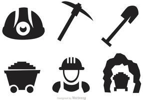 Ensemble de vecteurs d'icônes minières vecteur