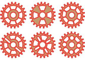Ensemble vectoriel de roues à vélo rouge