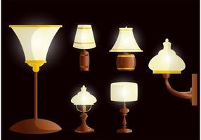 Beau vecteur de lampe en bois