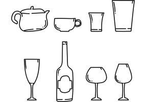 Ensemble de dîner à vins pour boissons vecteur