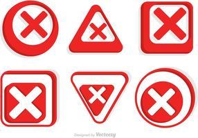 Pack d'images d'icônes rouges annulées vecteur