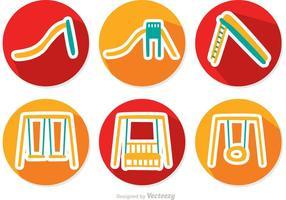 Ensemble vectoriel d'icônes de parc cercle plat