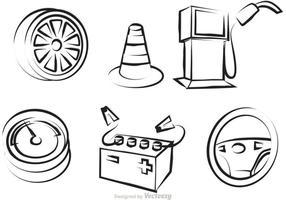 Vecteur d'icônes de contour de service de voiture