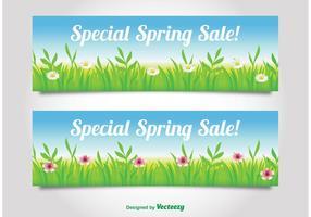 Bannières de vente au printemps vecteur