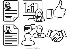 Vecteur d'icônes d'entrevue d'emploi