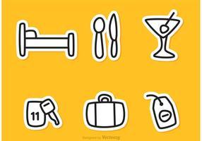 Vecteurs d'icônes de contour de l'hôtel