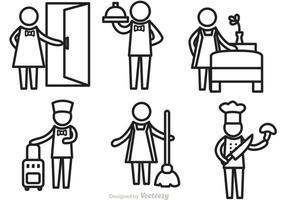 Vecteurs d'icônes de contour du service hôtelier