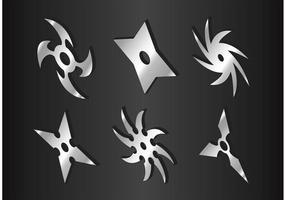 Ninja argenté jetant des vecteurs d'étoiles vecteur