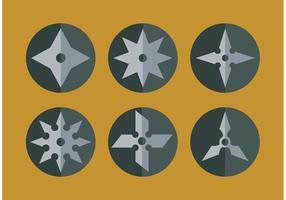 Ninja plat jetant des vecteurs d'étoiles vecteur