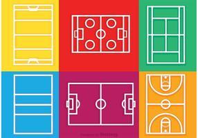 Vecteur d'icônes de contour des tribunaux sportifs