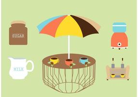 Illustration vectorielle au café en plein air