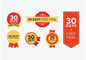 Badges d'essai gratuits de 30 jours Rouge et vecteur d'or