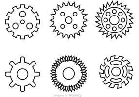 Vecteurs de contour des pignons de vélo vecteur