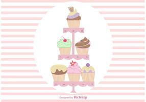 Hand Dramé Cute Cupcake Stand Vectors
