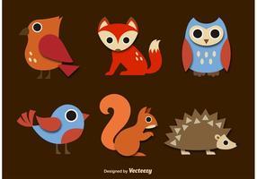 Vecteurs de bande dessinée des animaux forestiers