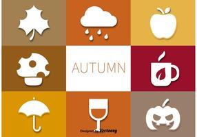 Ensemble de pictogrammes de vecteur d'automne