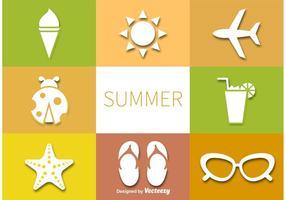 Ensemble de pictogrammes de vecteur d'été