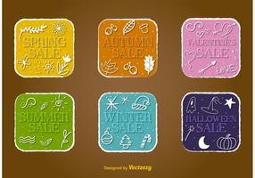 Badges vectoriels de vente saisonnière vecteur