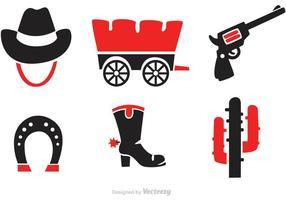 Vecteurs d'icônes de l'Ouest sauvage noir et rouge