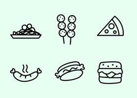 Vecteurs d'icônes d'aliments soulignés vecteur