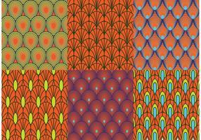 Rétro vecteurs de motifs de paon vecteur