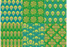 Vecteurs de motifs de paon verts vecteur