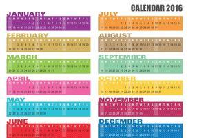 Vecteurs de bannière de calendrier 2016 vecteur
