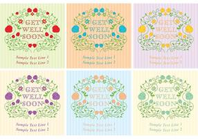 Get Well Soon Vector Floral Card