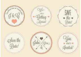 Ensemble d'étiquettes de mariage vectoriel gratuit