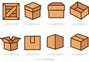 Icônes vectorielles de boîtes et de caisses