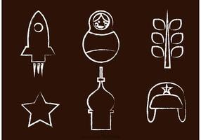 Icônes vectorielles russes dessinées par craie vecteur