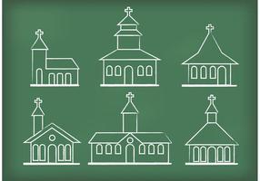 Vecteurs d'église dessinés à la craie vecteur