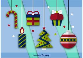 Icônes plates de Noël vectoriel