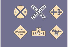 Ensemble de panneaux routiers de chemin de fer vecteur