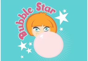 Free Girl Blowing Bubblegum Illustration Vectorisée vecteur
