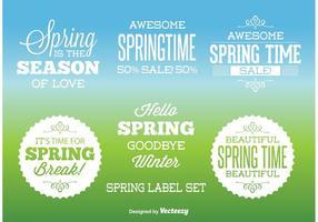 Étiquettes de printemps typographiques vecteur
