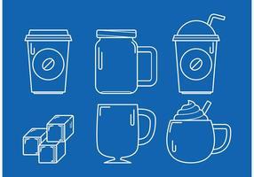 Vecteurs linéaires de café glacé vecteur