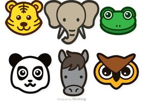Icônes de vecteur de tête d'animal