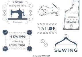 Ensemble d'étiquettes et d'emblèmes de couture vectorielle vecteur