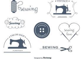 Ensemble d'étiquettes et d'emblèmes de couture vectorielle
