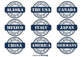 Ensemble de badge Vector Made In Country