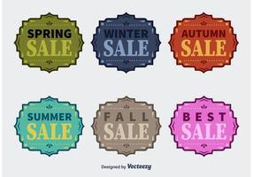 Badges de vente de vecteur de quatre saisons